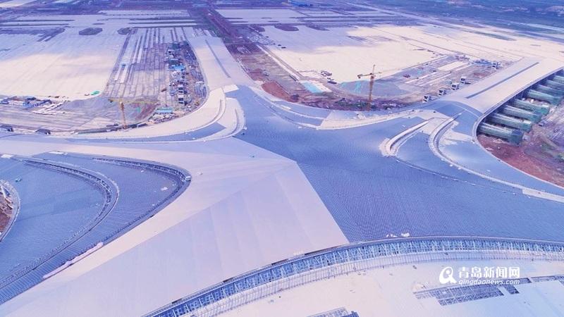 航拍青岛新机场!航站楼主体已完工,进入精装修阶段