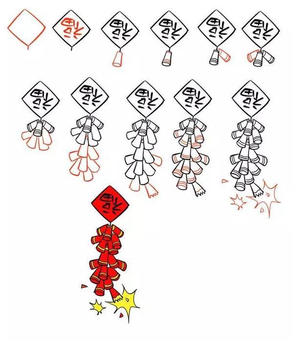 2021新年简笔画,用灯笼、鞭炮、红包一起迎接春节吧