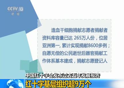 中国红十字会发布过去五年发展报告:红十字基层组织超9万个