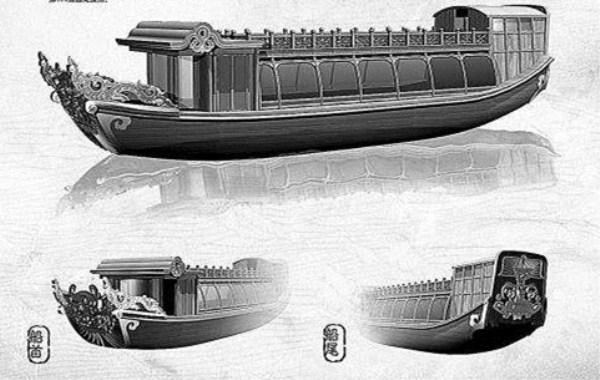运河槽舫船模型图片