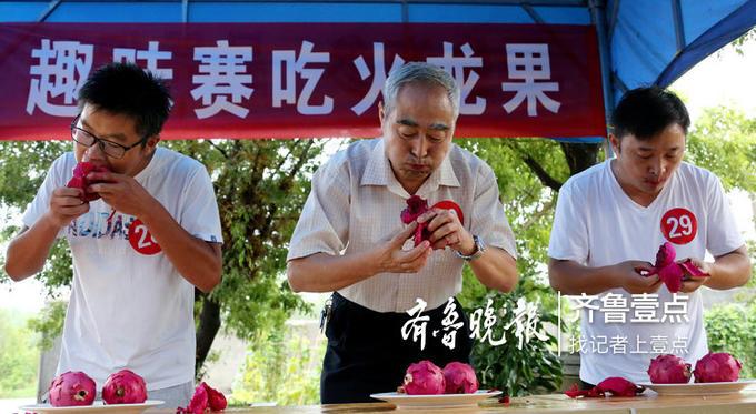 男子组吃火龙果趣味比赛